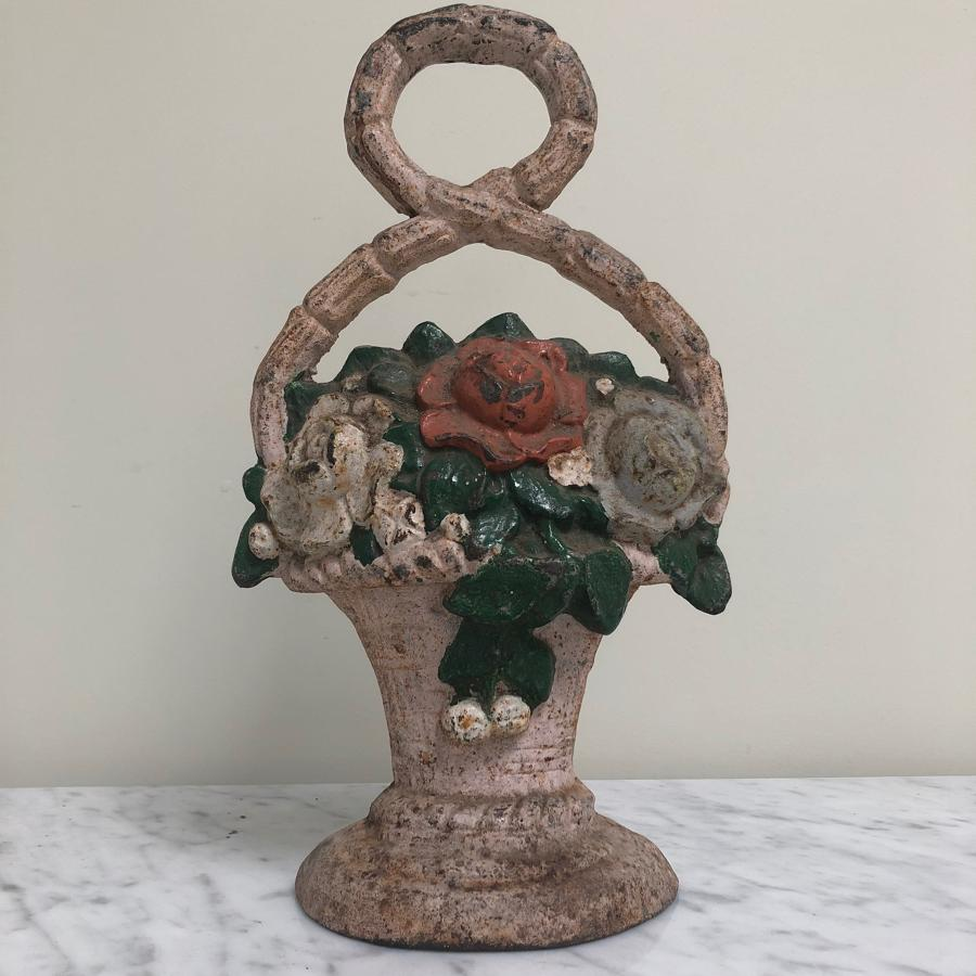 Late Victorian Cast Iron Door Stop - Flowers in Basket