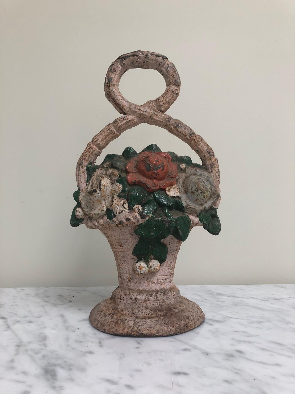 Late Victorian Cast Iron Door Stop - Flowers in Basket