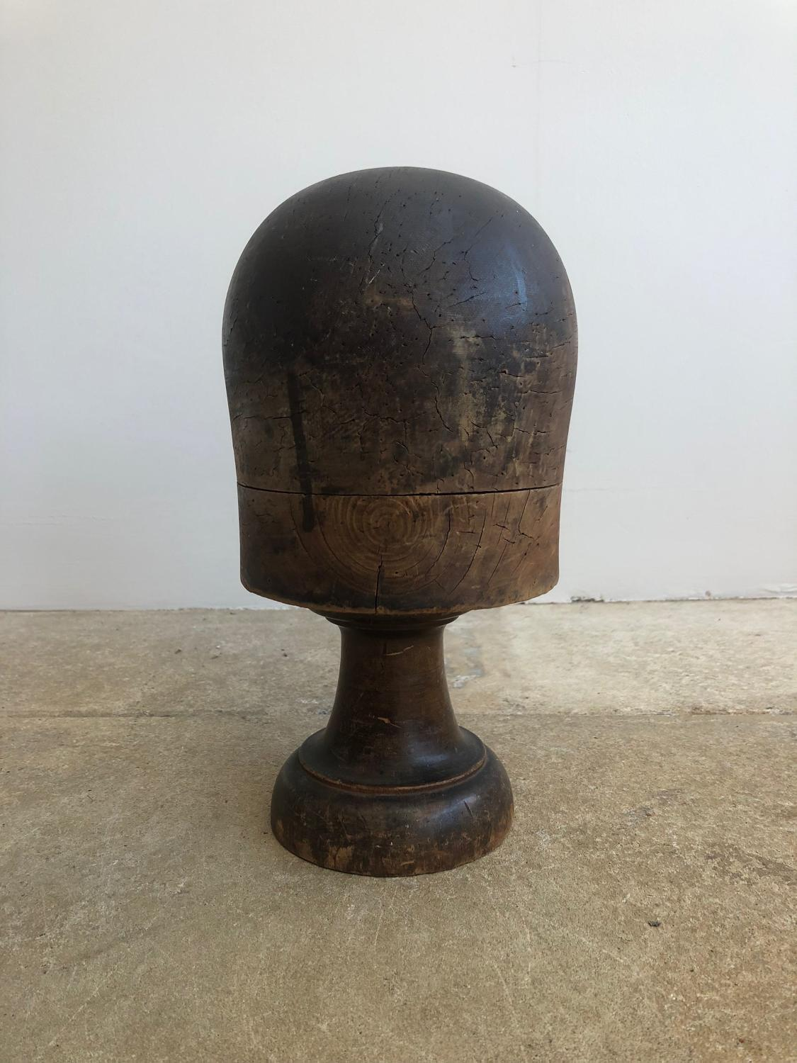 Early 20th Century Wooden Hat Block on its Original Base
