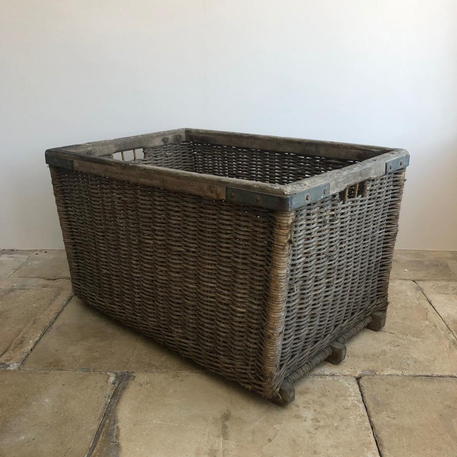 Early 20th Century Wooden Bound & Slatted Base Basket - Lovely Cond.