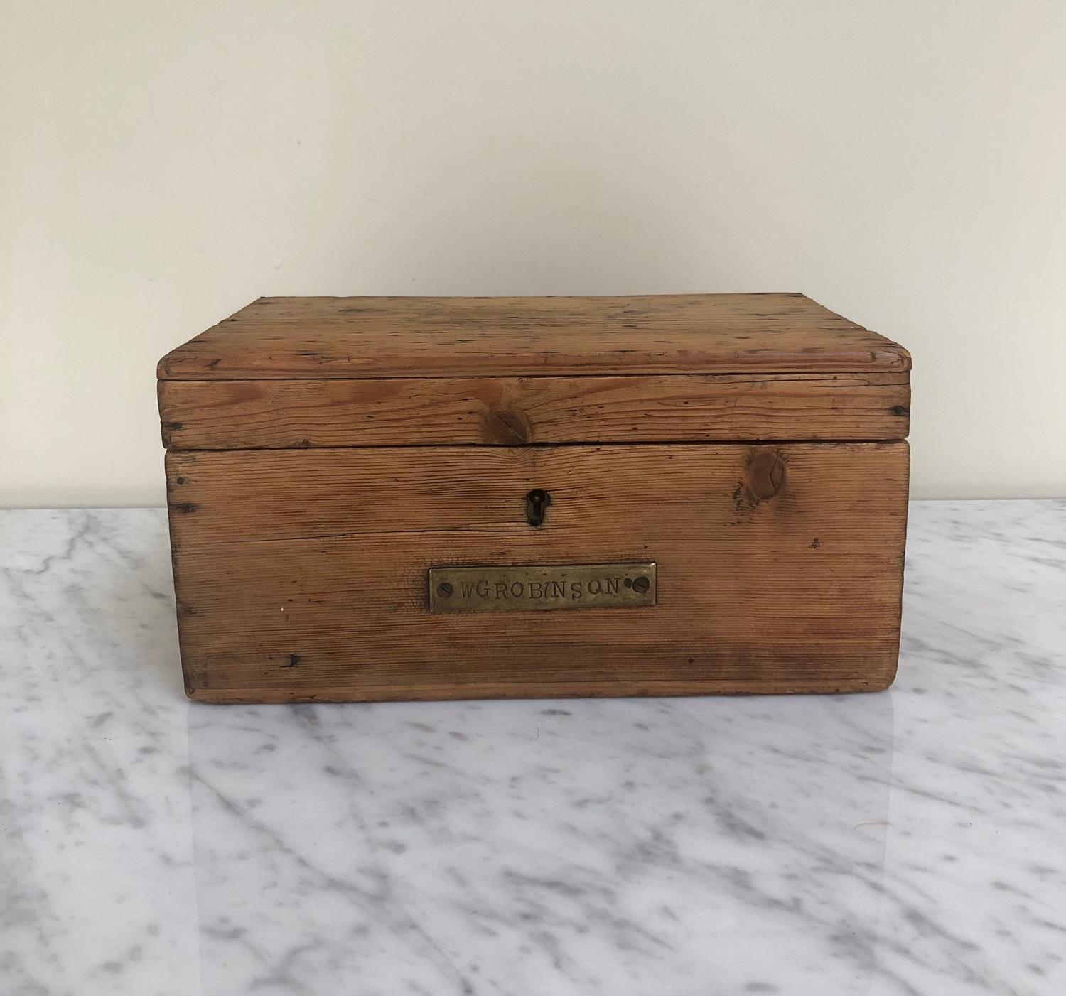 Victorian Pine Box with Brass Plaque & Working Key - GW Robinson