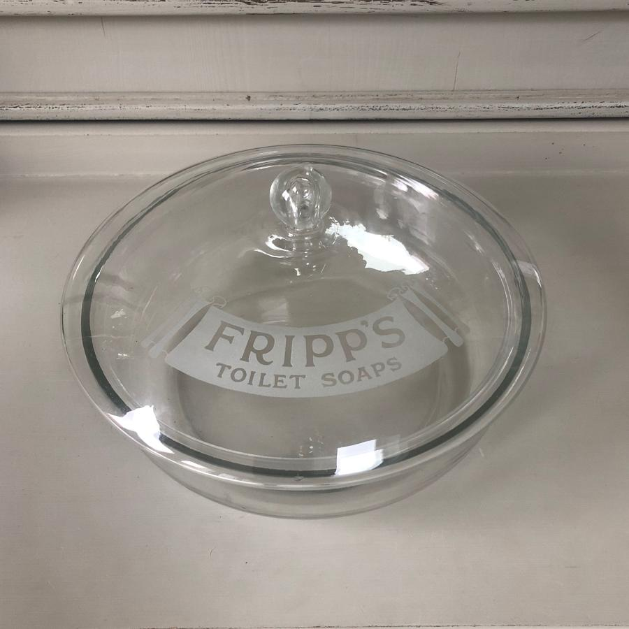 Large Edwardian Shops Glass Advertising Bowl - Fripps Toilet Soaps