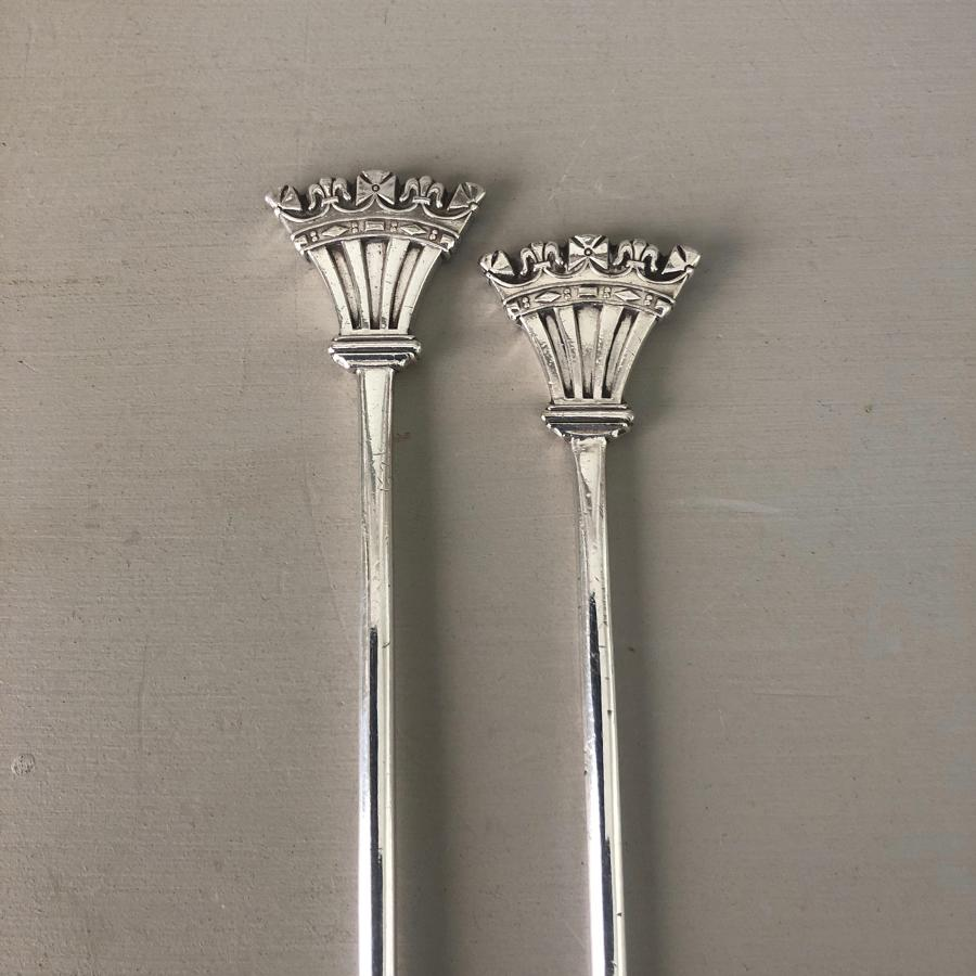 Two Early 20thC Crown Top Meat Skewers - Elkington Silver Plate