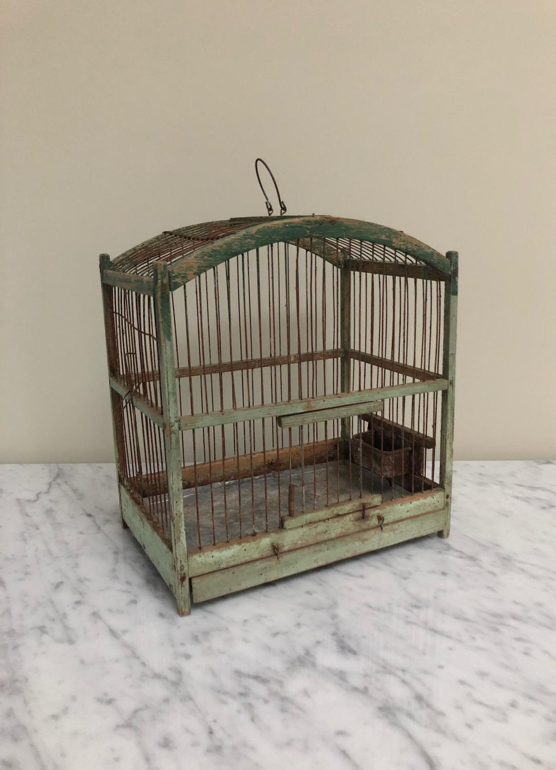 Early 20th Century Decorative Pine Bird Cage in Original Paint.