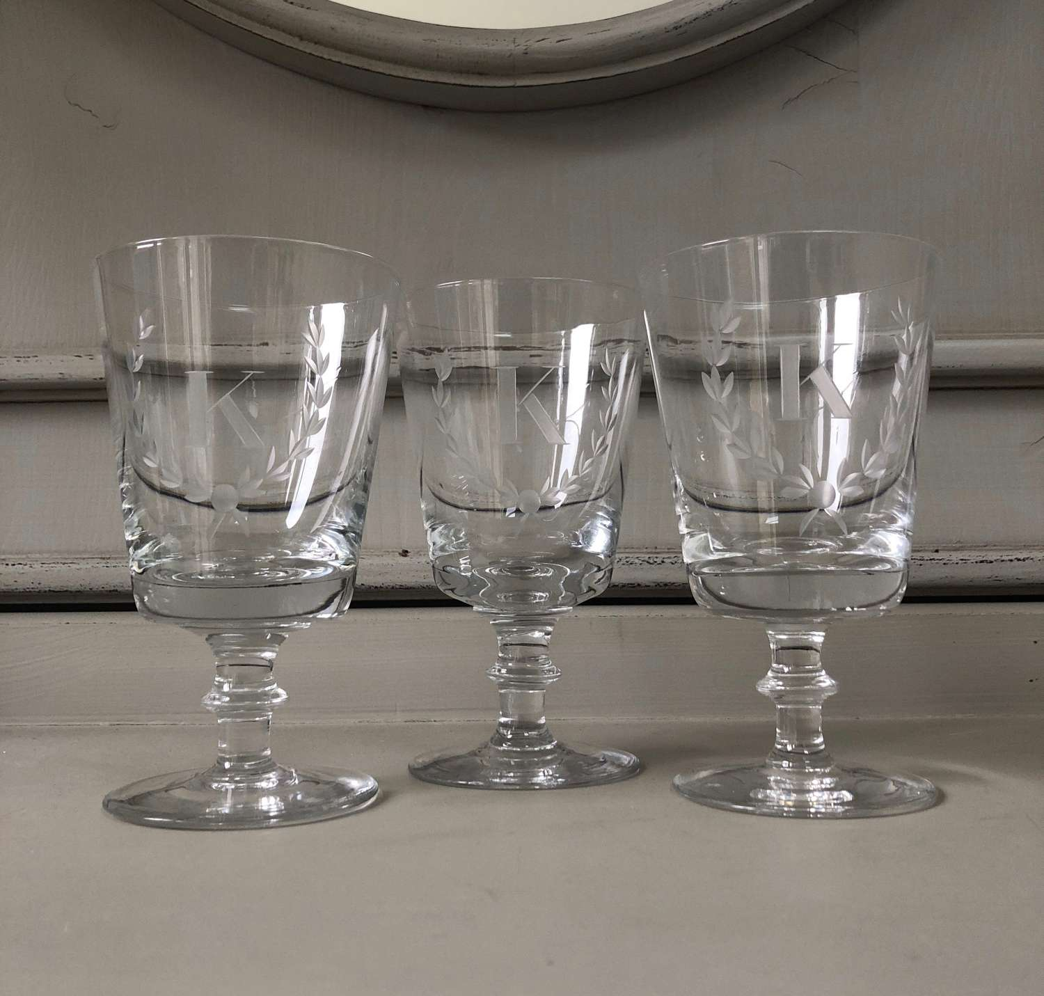 Antique Hand Blown Glasses - Etched K - Three Available