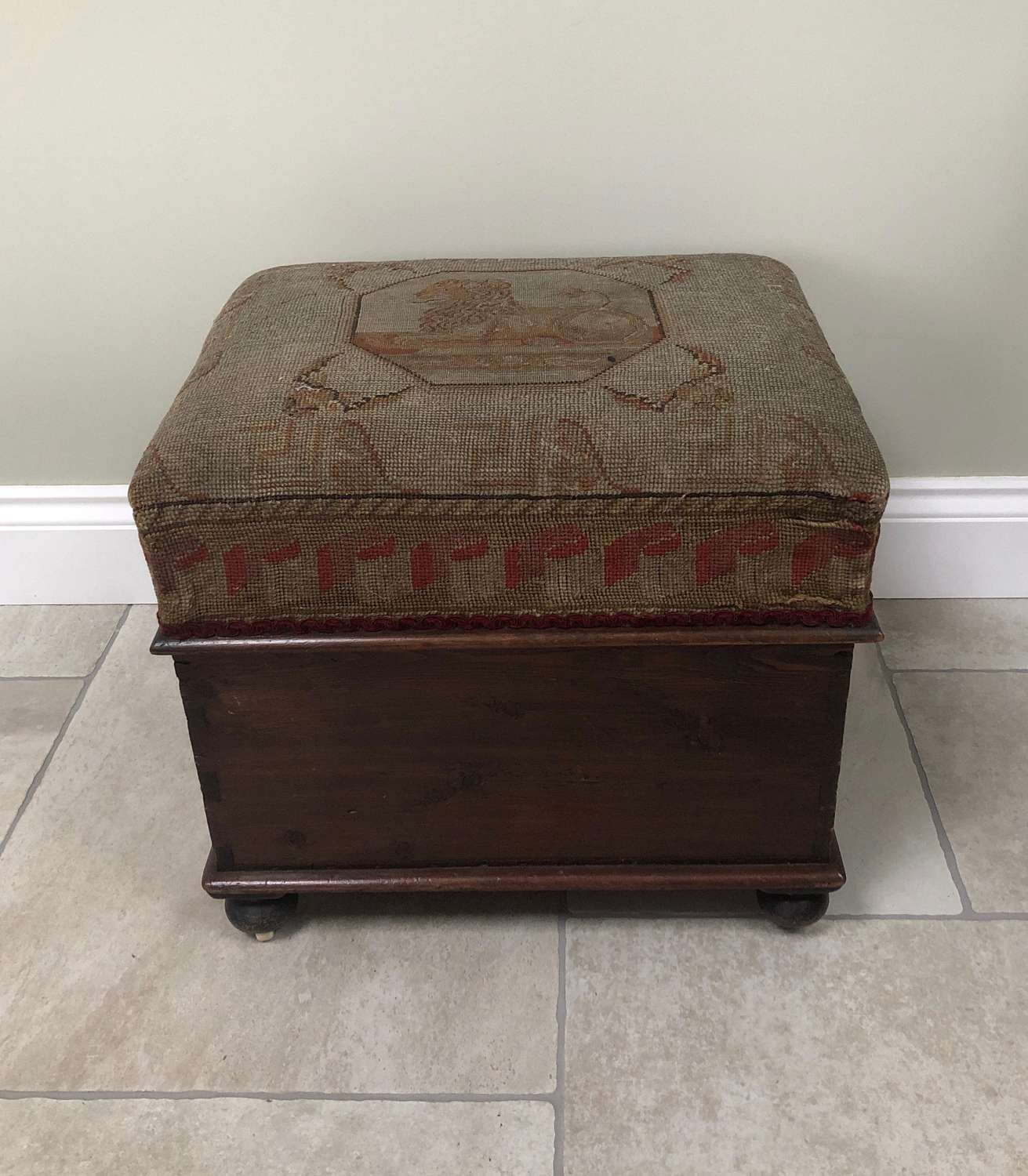 Late Victorian Pine Box Stool in Orig Paint with Tapestry Lion Top.