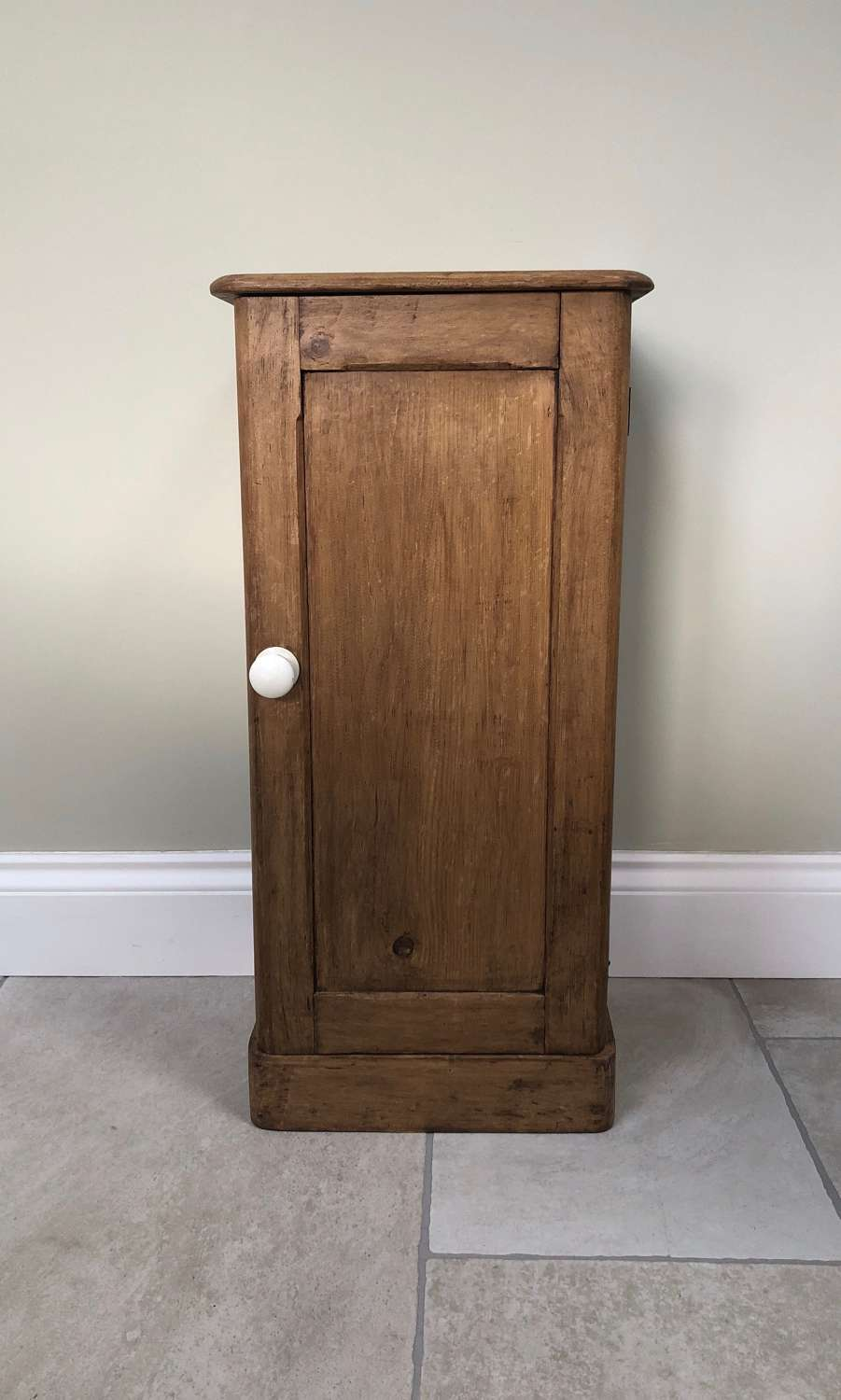 Victorian Pine Panelled Front Narrow Cupboard - Pot Cupboard.