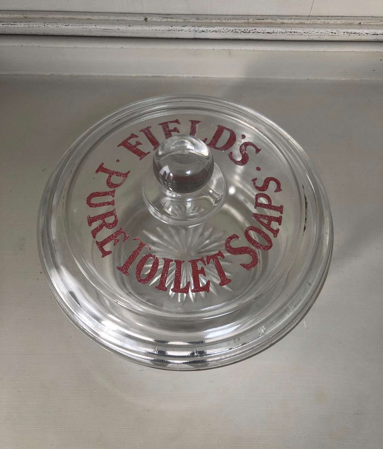 Edwardian Shops Etched Glass Advertising Jar- Fields Pure Toilet Soaps