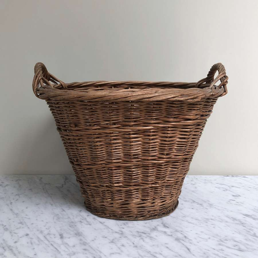 Large Antique Basket with Side Handles. Perfect Log or Laundry Basket.