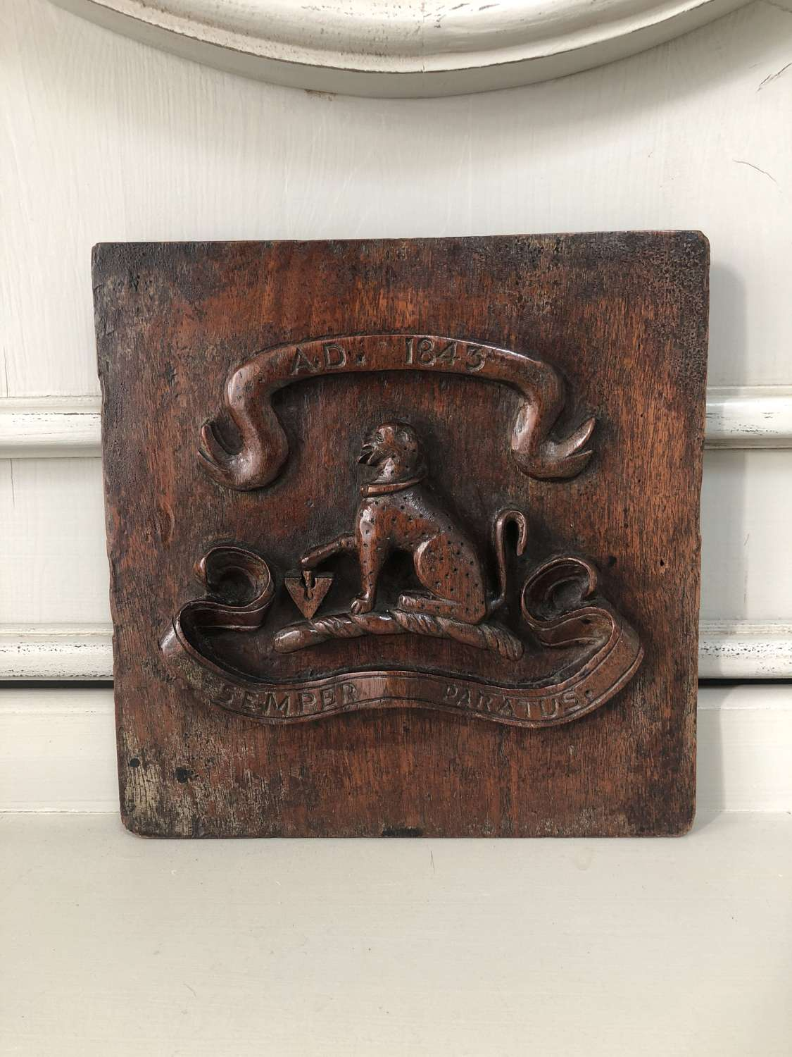Early Victorian Deeply Carved Oak Armorial. Dated 1843