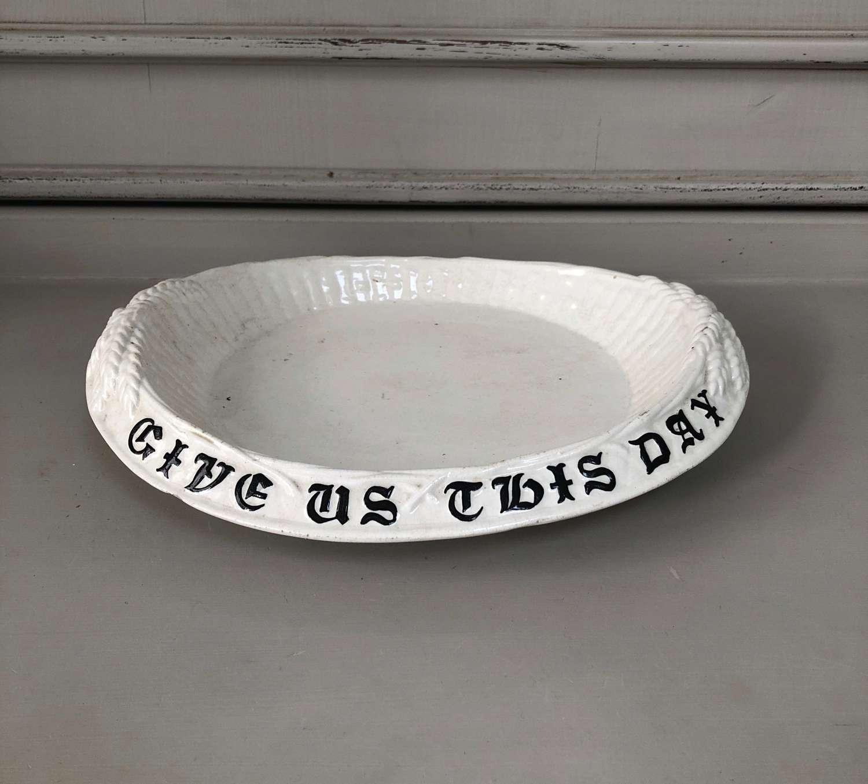 Victorian White Ironstone Bread Plate - Unusual Black on White Verse