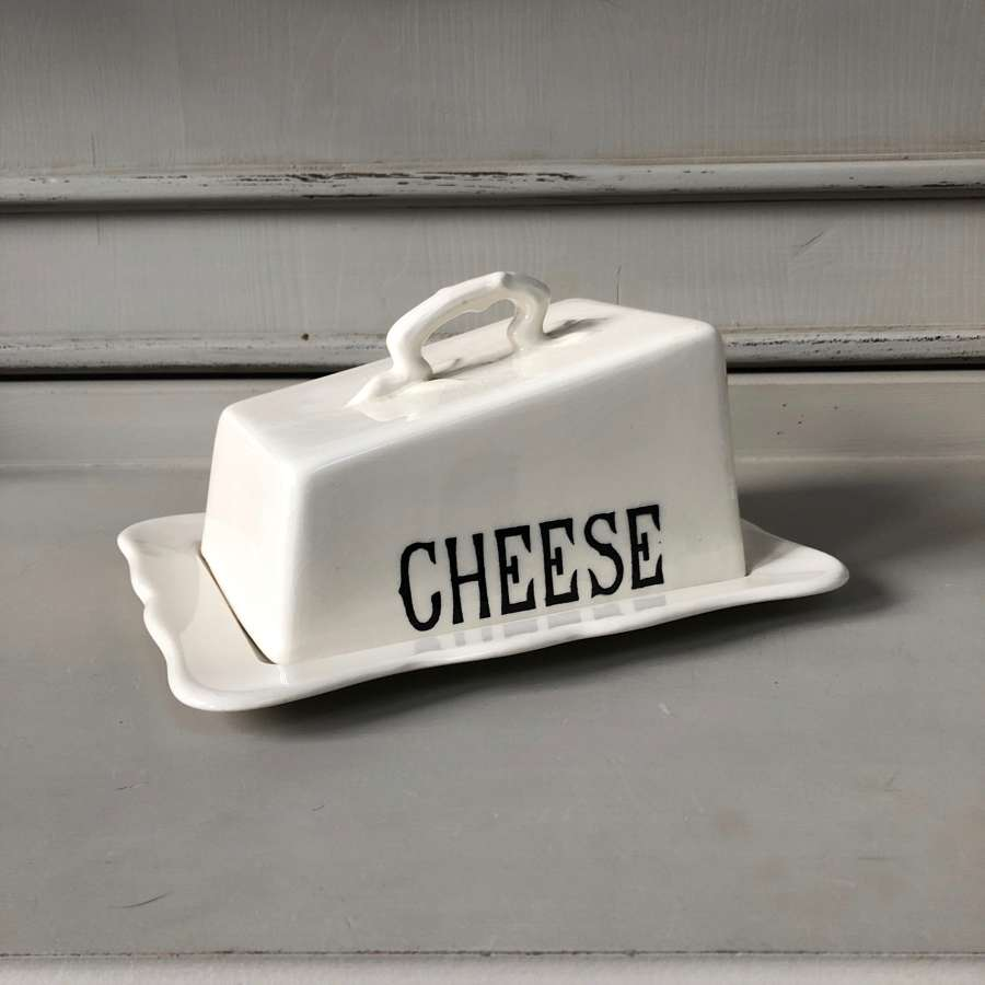 Mid Century Masons White Ironstone Cheese Dish on Original Base