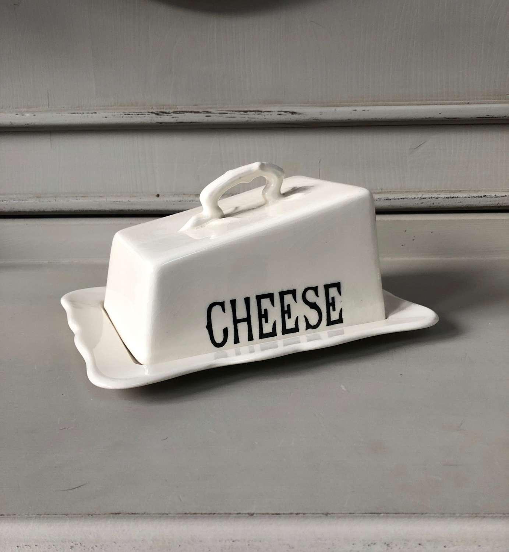 Mid Century Masons White Ironstone Cheese Dish on Original Base