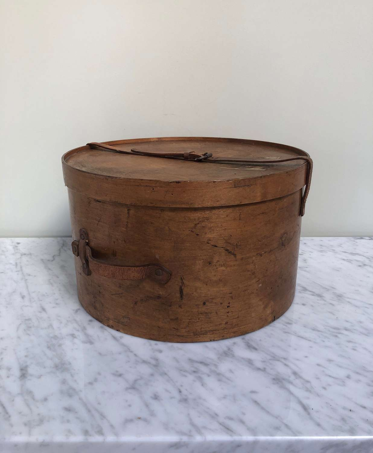 Antique Travelling Hat Box with Leather Handle & Strap