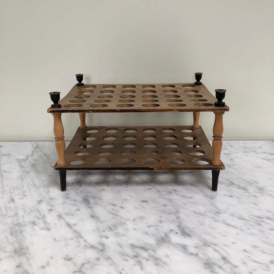 Victorian Sycamore Country House Egg Rack Turned Column Supports