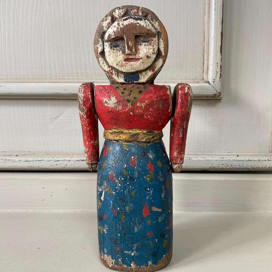 Victorian Pine Folk Art Lady - Doll - In Original Paint