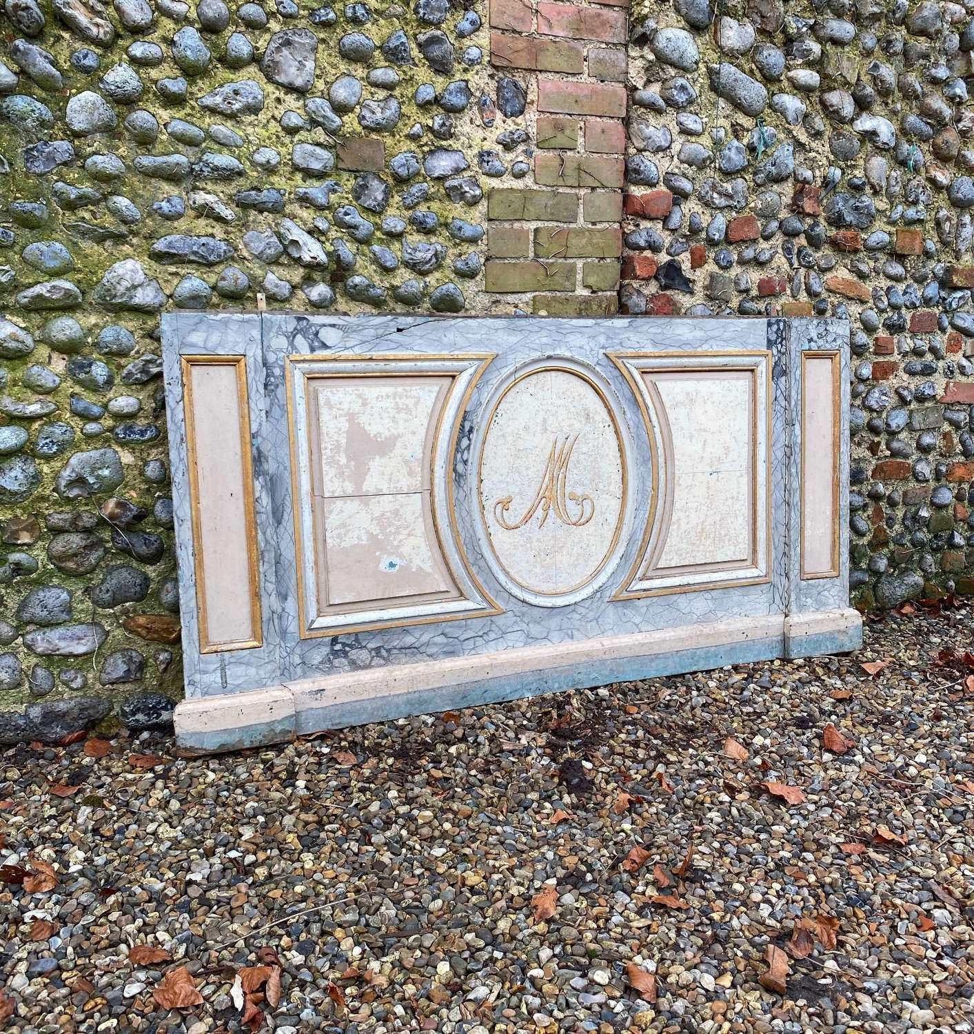 Fantastic Early Victorian Painted Panel - Bed Headboard - Decoration
