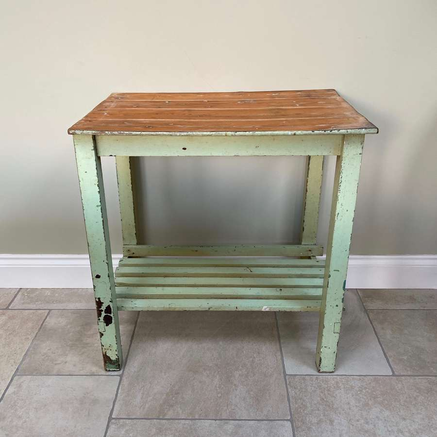 Early 20thC Painted Pine Table with Slatted Base Stretcher Shelf