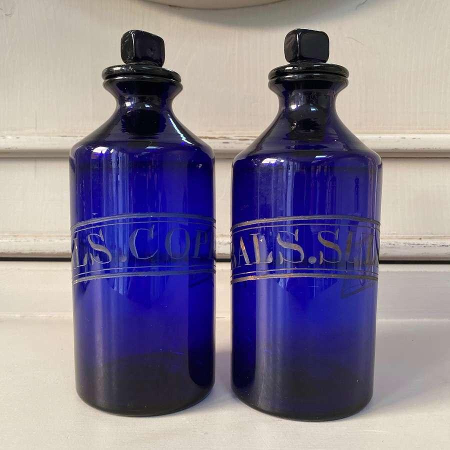 Superb Pair of Georgian Cobalt Blue Etched Glass Chemist Jars