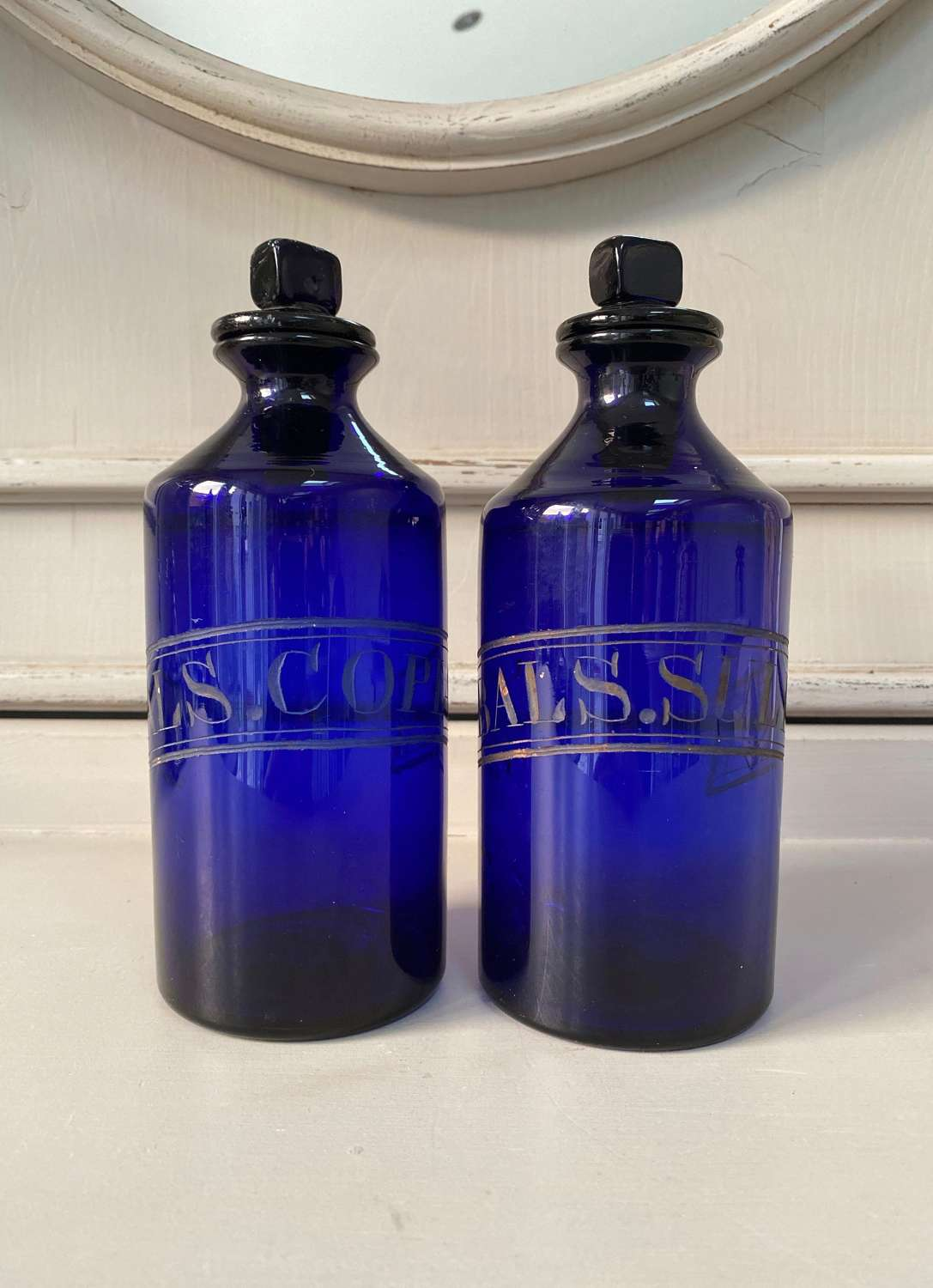 Superb Pair of Georgian Cobalt Blue Etched Glass Chemist Jars