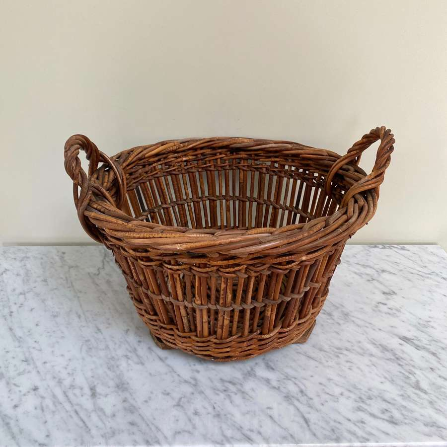 Antique Lowestoft Herring Basket with Wooden Slatted Base - Great Logs