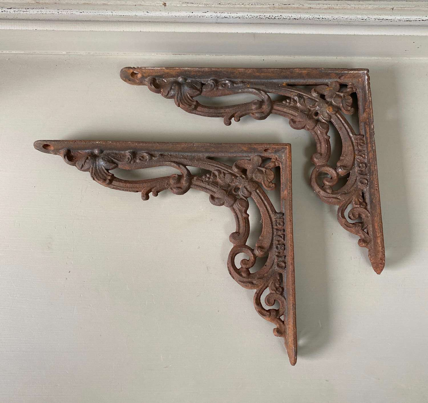 Pair of Small Victorian Cast Iron Brackets - Make Great Shelf