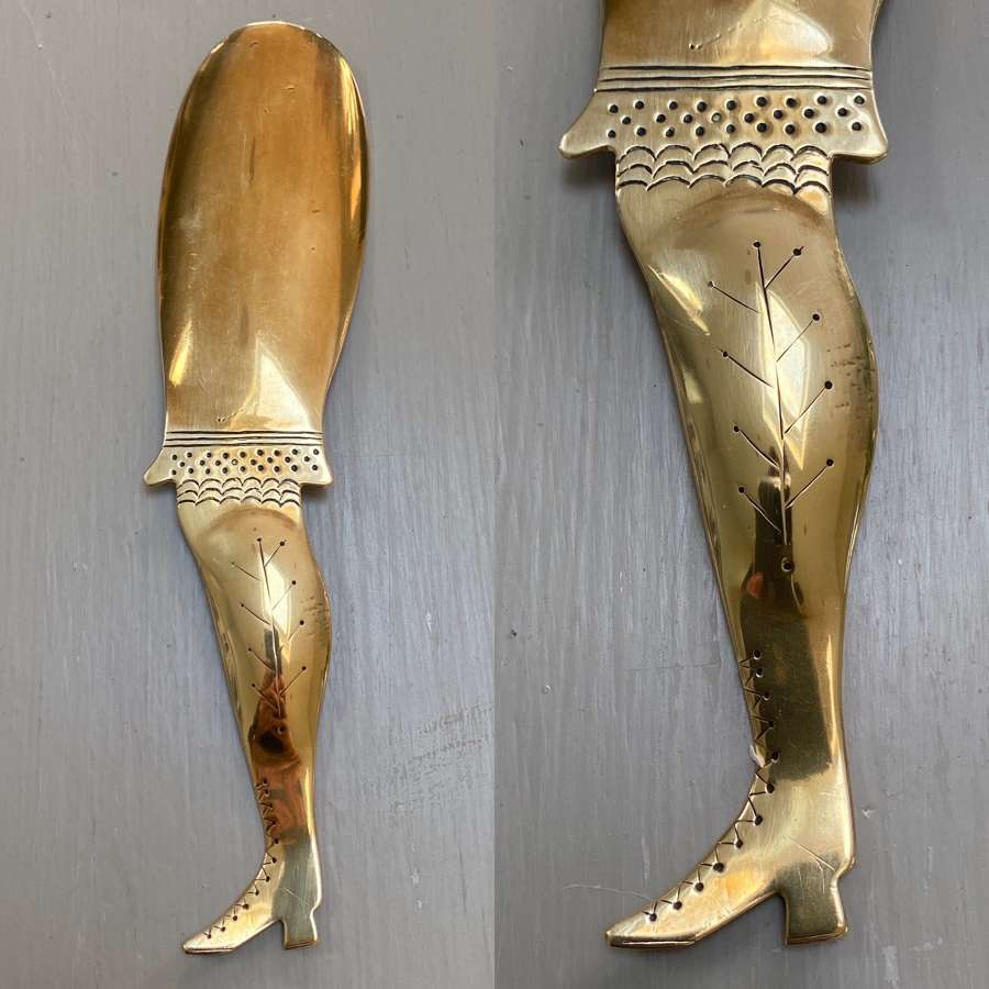 Late Victorian Large Brass Shoe Horn. Ladies Bloomer and Boot.