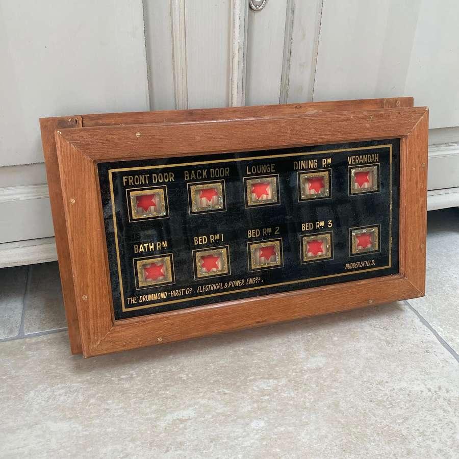 Edwardian Servants Bell Indicator. Reverse Painted Glass in Oak Case.