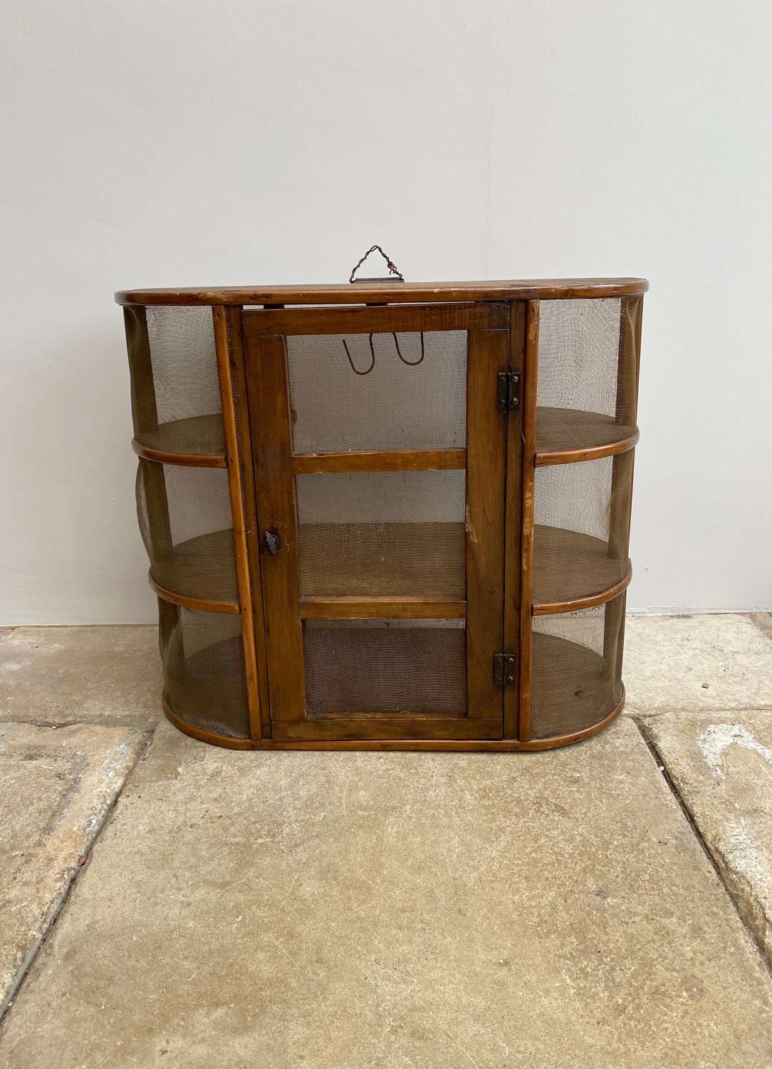 Early 20thC French Pine Cheese & Sausage Safe - Lovely Shape