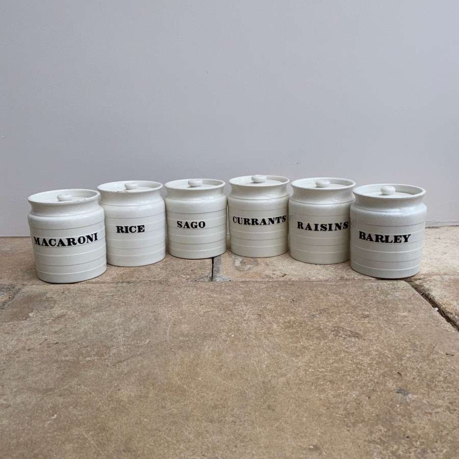 Set of Six Late Victorian Minton White Banded Kitchen Storage Jars