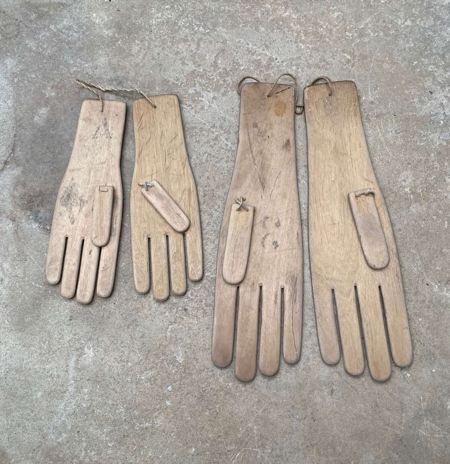 Early 20thC Pair of Adults & Childs Glove Stretchers - Driers