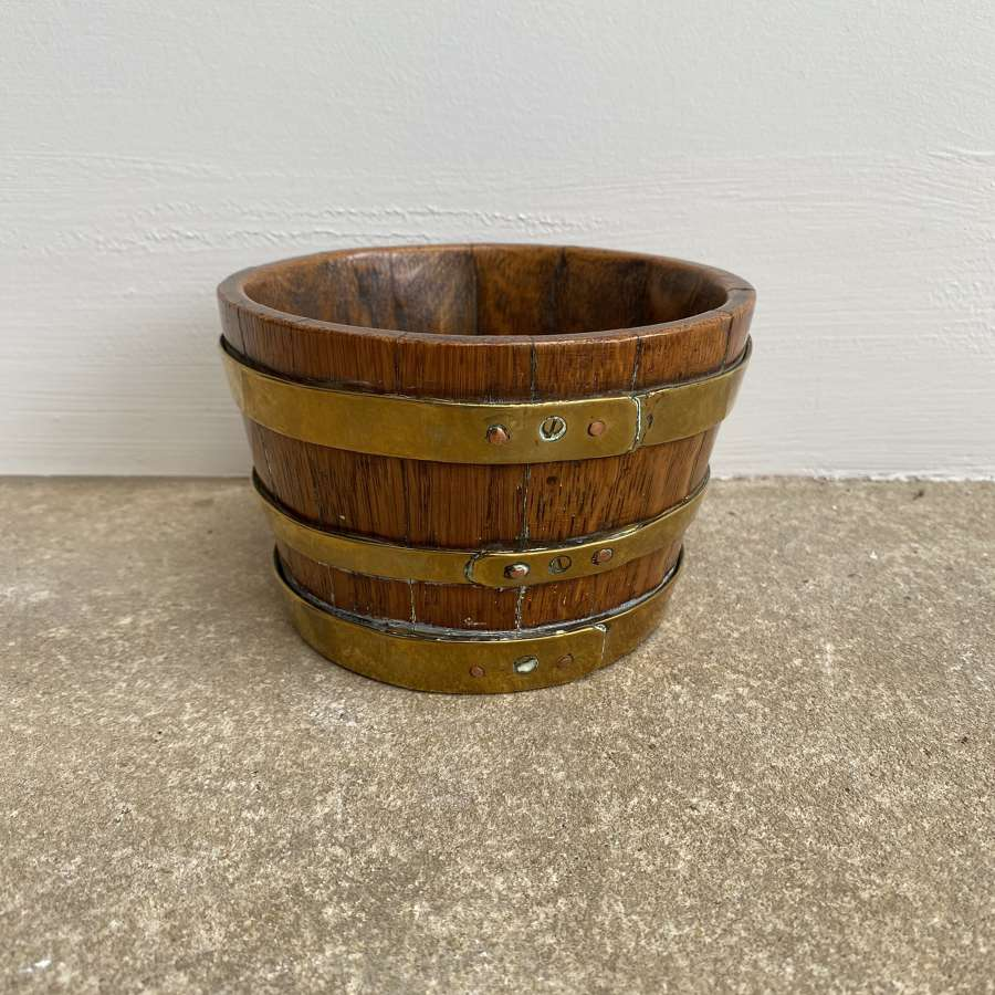 Victorian Small Brass Bound Coopered Oak Bowl Measure