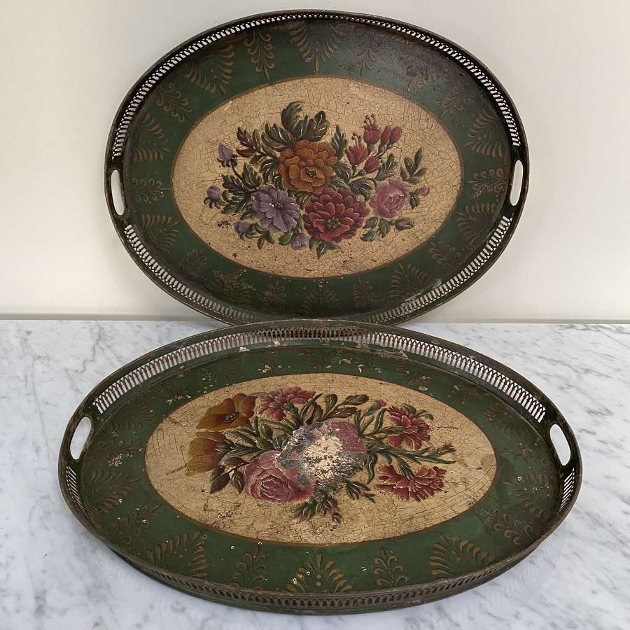 Rare Pair of Large Victorian Toleware Trays