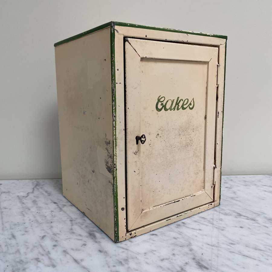 Early 20th Century Cream Tin Cakes Safe