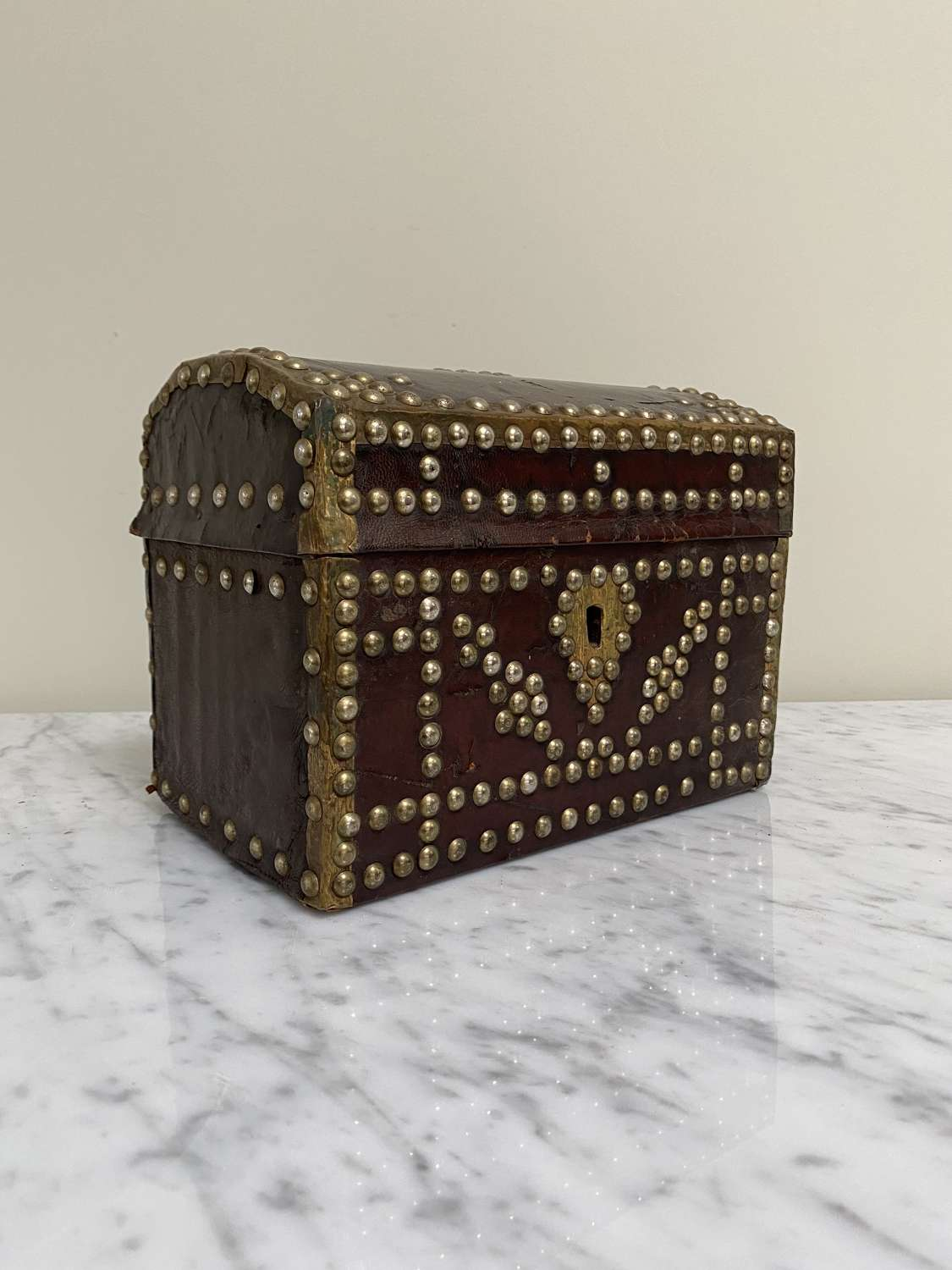 Early Victorian Rich Conker Brown Leather Studded Box