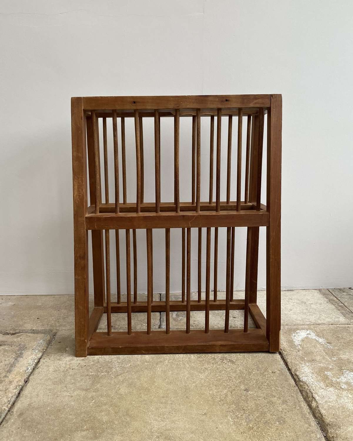 C1940s Wooden Two Tier Wall Hung Plate Rack