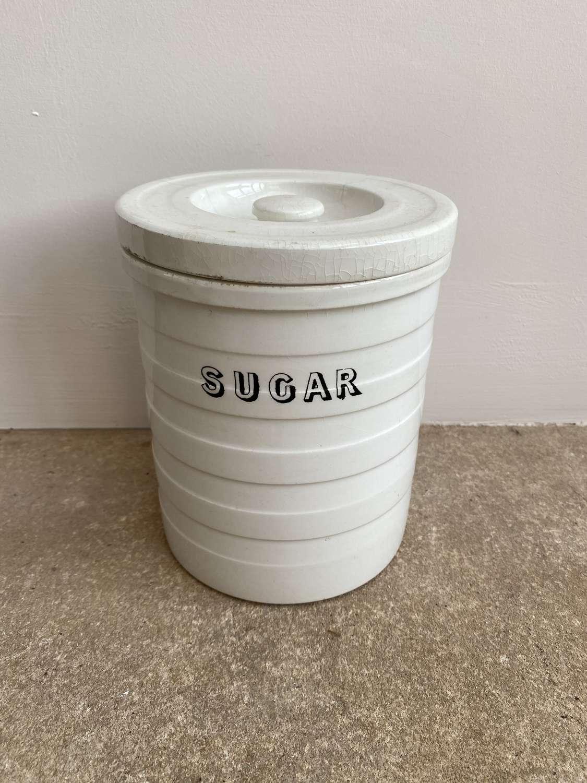Victorian Maling White Banded Kitchen Storage Jar - Sugar