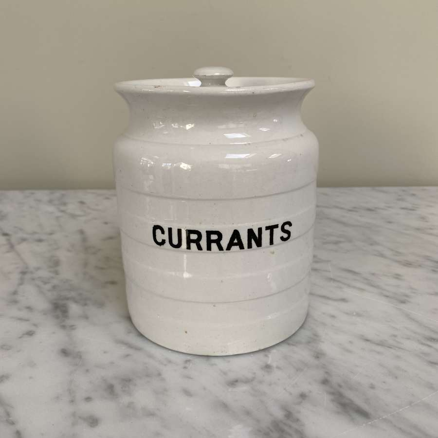 Early 20th Century White Kitchen Jar with Original Lid - Currants