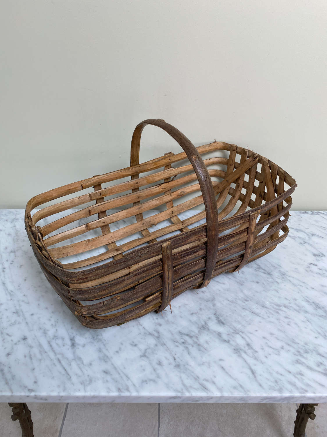 Large Unusual Rectangular Shape Walnut Basket