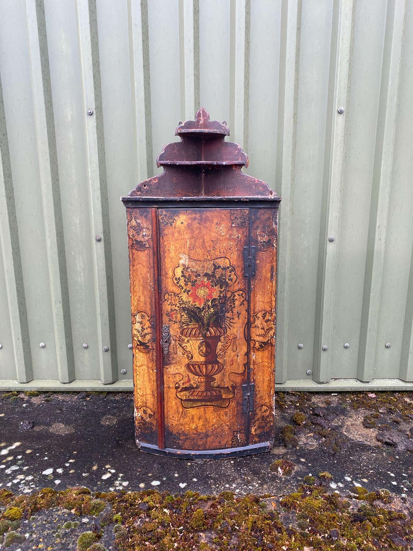 Georgian Pine Corner Cupboard in Fantastic Original Paint