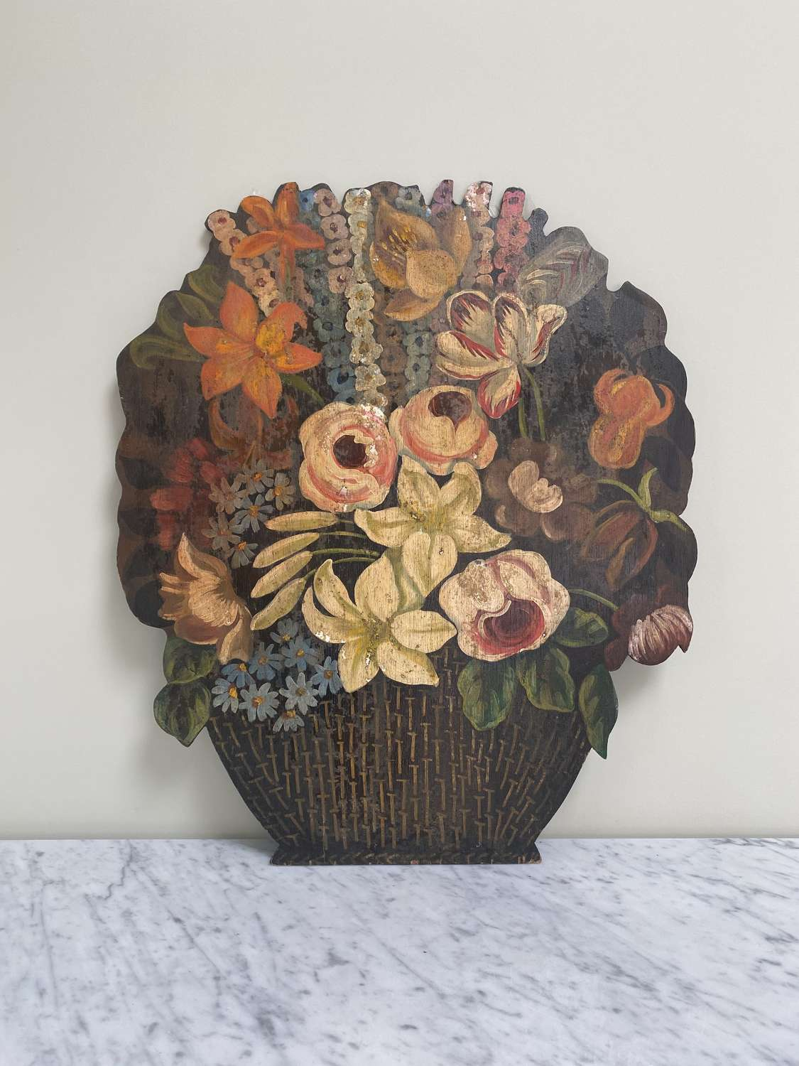 Wonderful Large Hand Paint Floral Dummy Board c1950