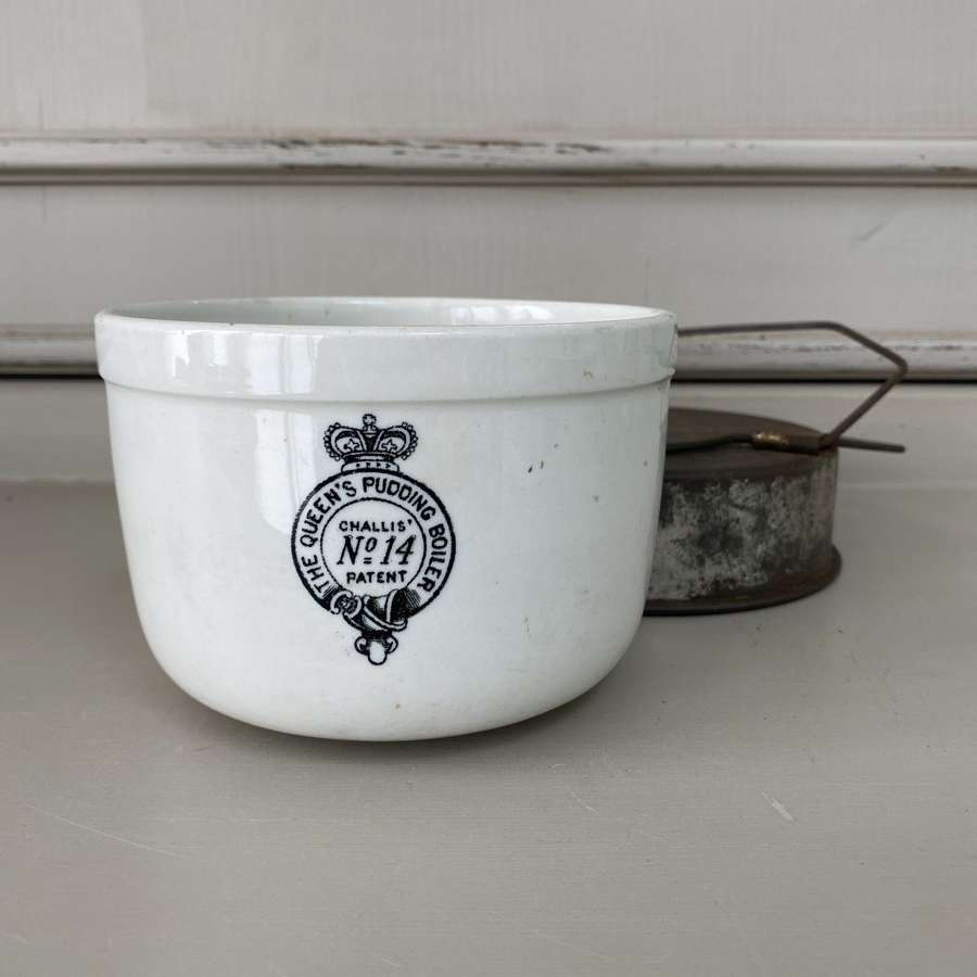 Early 20th Century White Ironstone Queens Pudding Boiler No14 with Lid