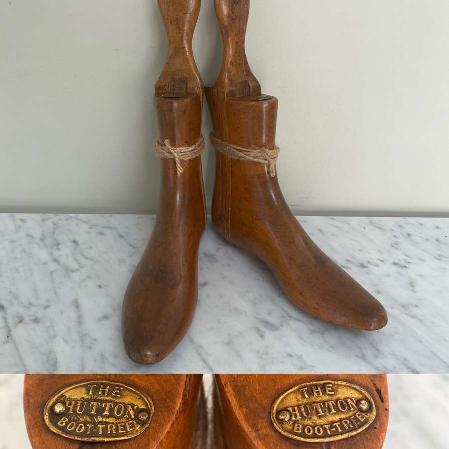 Late Victorian Ladys Boot Trees with Brass Plaques - Hutton Boot Trees