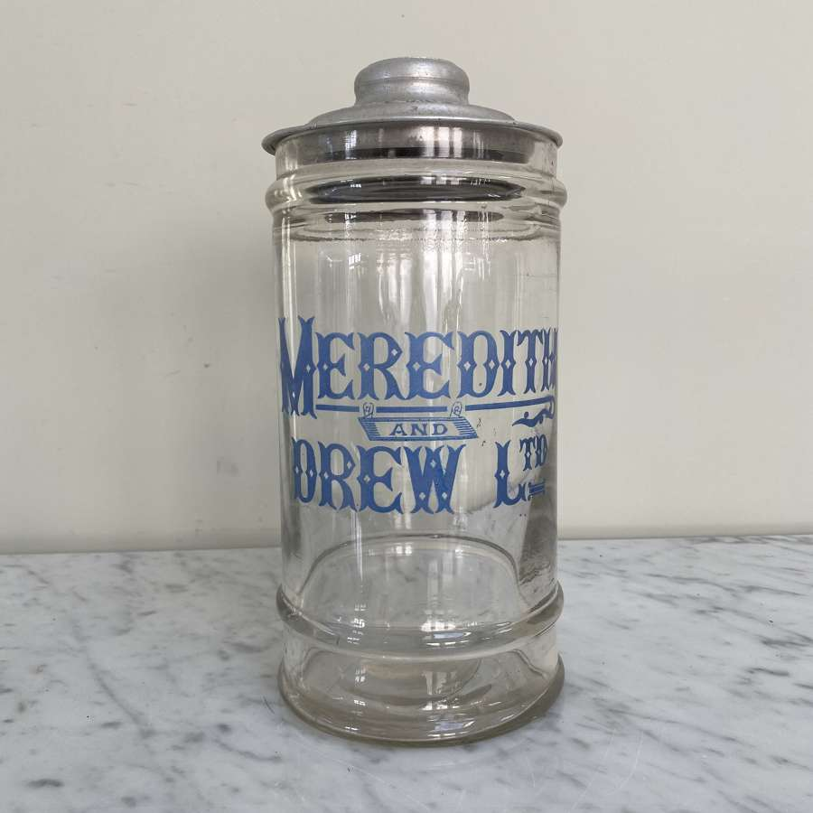 Rare Shape Edwardian Shops Advertising Meredith & Drew Biscuit Jar