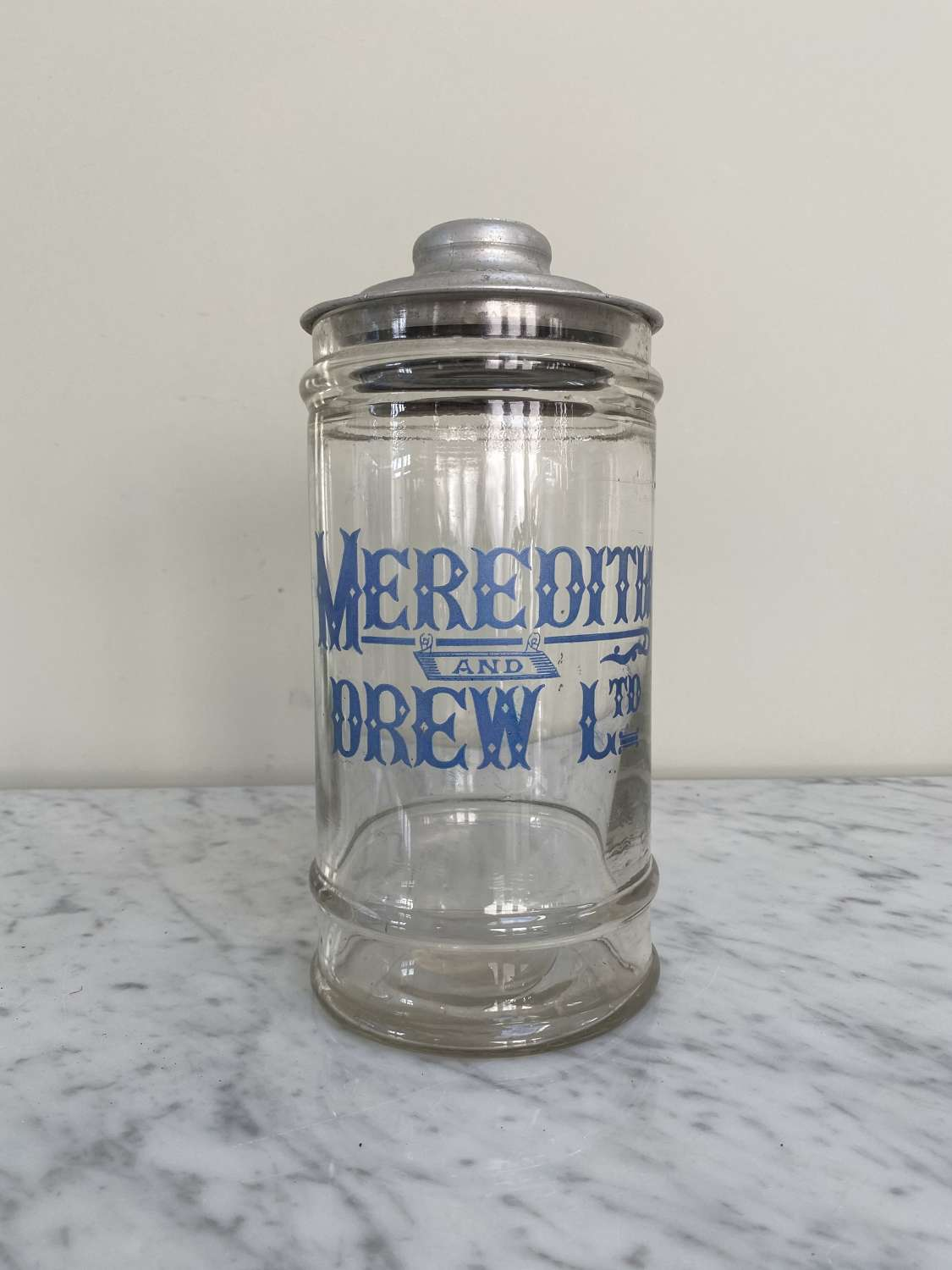 Rare Shape Edwardian Shops Advertising Meredith & Drew Biscuit Jar