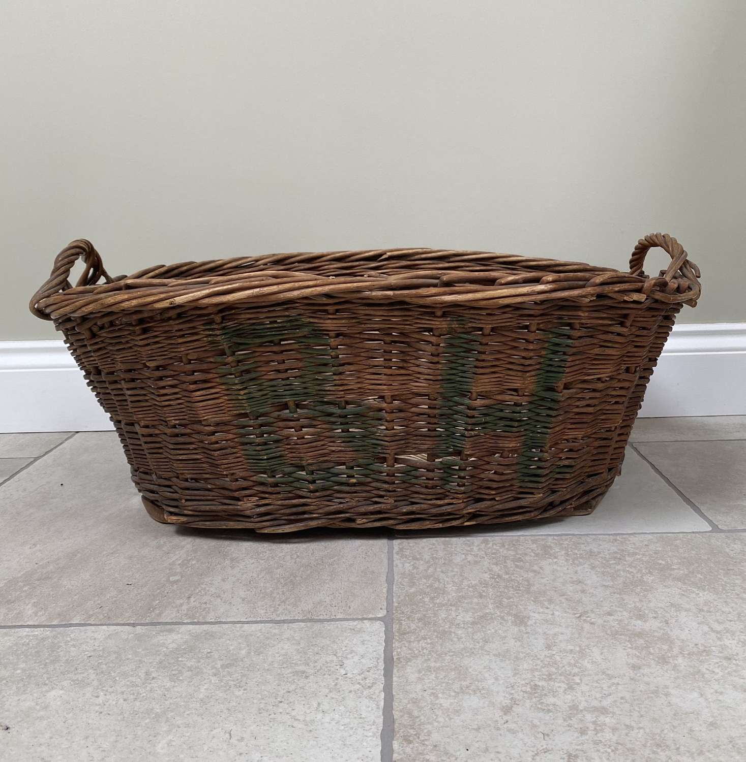 Large 1920s Laundry Basket - Wooden Slats to Base - BH