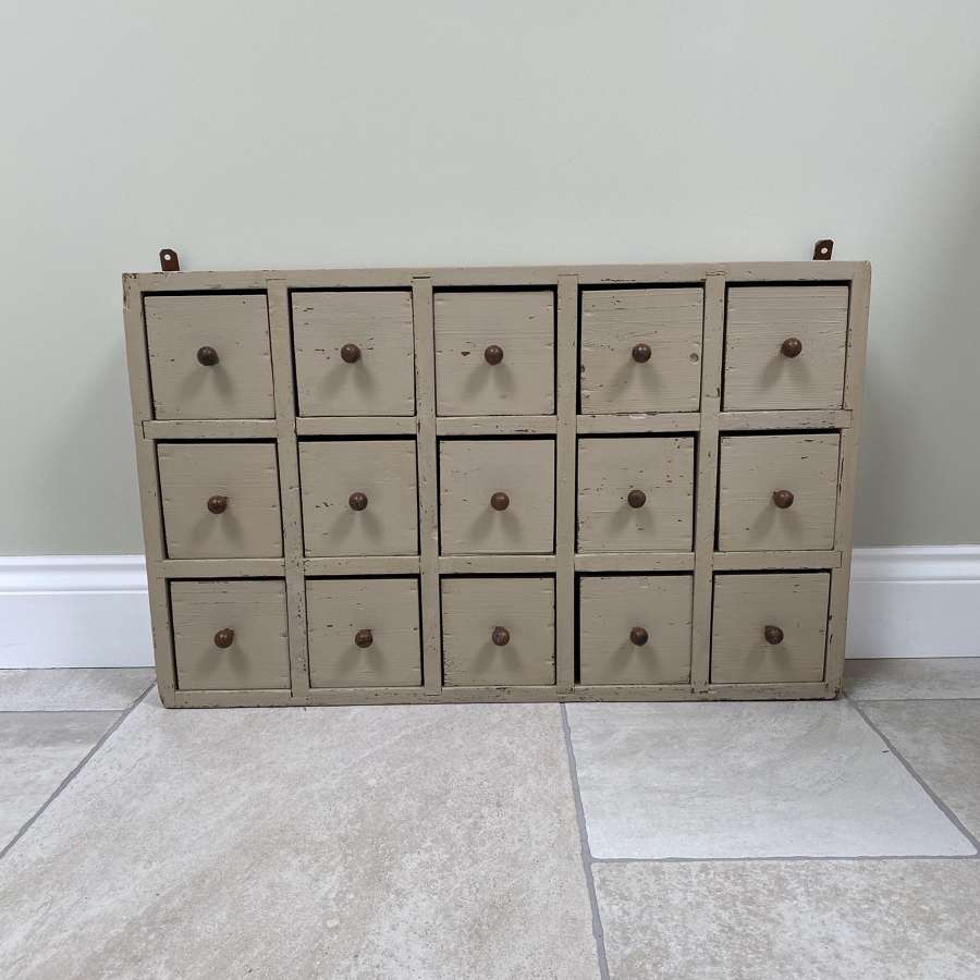 Early 20th Century Pine Bank of Fifteen Drawers with Orig Metal Knobs