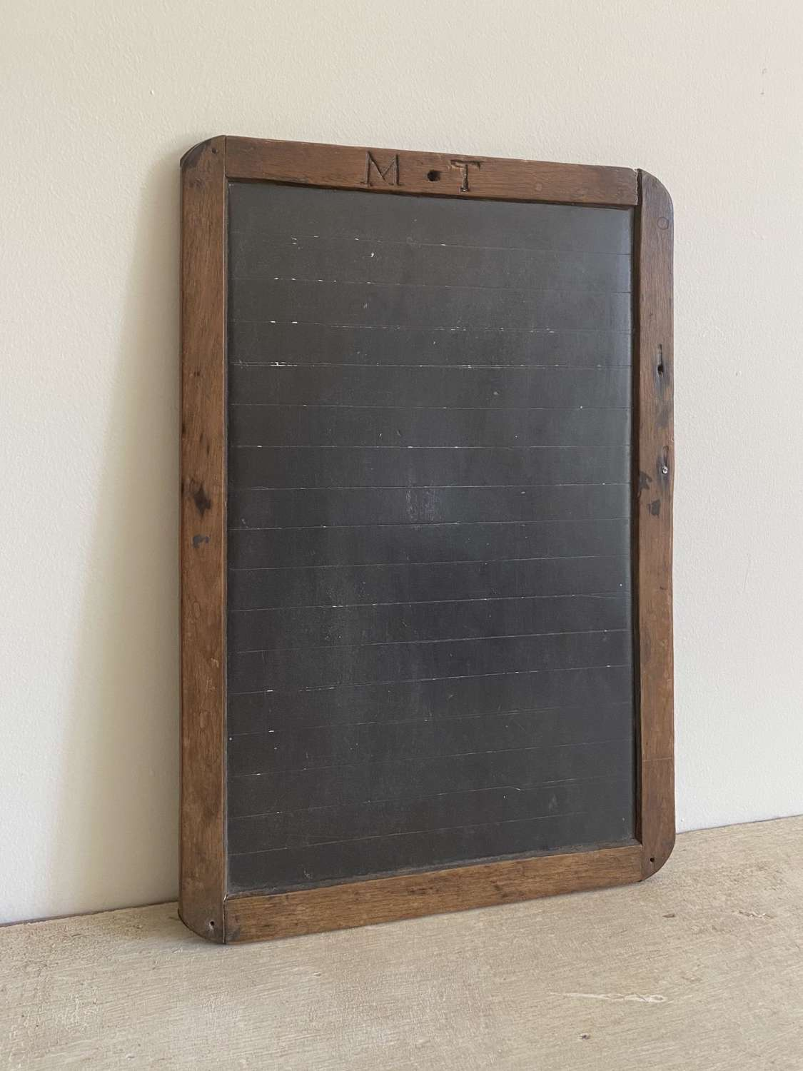 Late Victorian Child's School Slate Carved M.T.