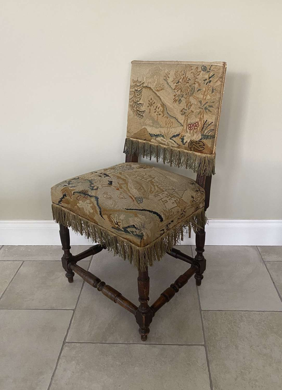 Victorian Chair Covered with Period Tapestry & Braid