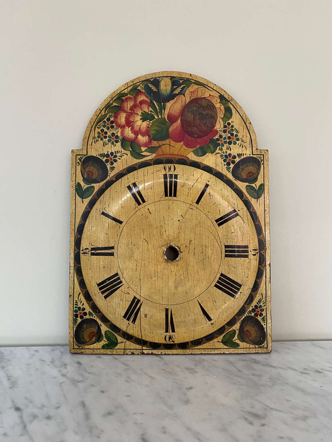 Late Victorian Hand Painted Wooden Clock Face